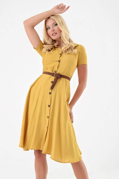 Sarı Kemerli Gömlek Elbise