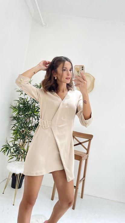 Kemerli Ceket Elbise