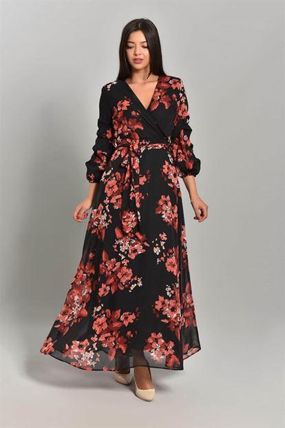 Siyah Çiçekli Uzun Şifon Elbise Büyük Beden